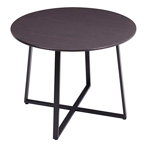 Warmiehomy Dining Table Modern Round Breakfast Kitchen Table Coffee Table with Metal Legs, 100cm, Dark Brown(Table Only)
