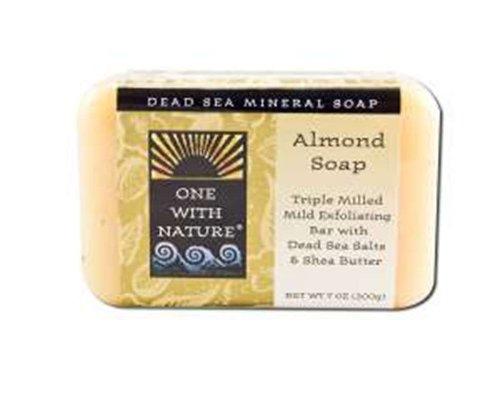One With Nature - Amande douce minérale d'Exfoliating de savon de barre de mer morte - 7 oz.