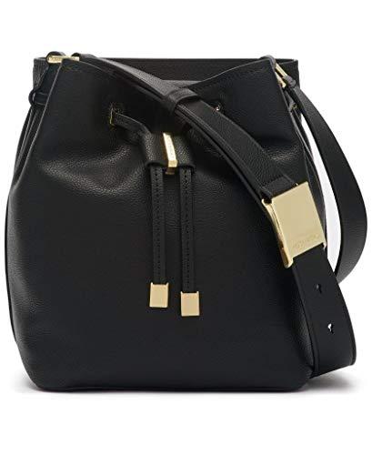 Calvin Klein Avery Micro Pebble Leather Bucket Bag, Black/Gold