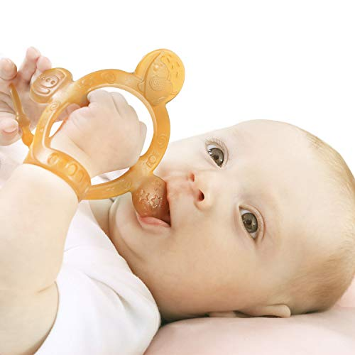 Never Drop from Hand HEORSHE Baby Teething Toys for Babies 36 Months Teethers for Infants Toddlers Silicone Molars Adjustable Chew Toys for Babies 3 4 5 6 7 8 9 10 11 12 Months Brown