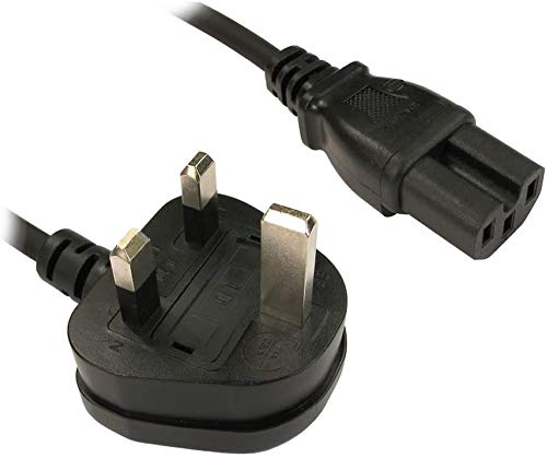 ABC Products® C15 Kettle Power Supply Adapter Cord Mains Cable Lead UK Plug with Notch -IEC SocketHot Conditioned for Cisco Switches,PC, Monitor Server etc 2M Long
