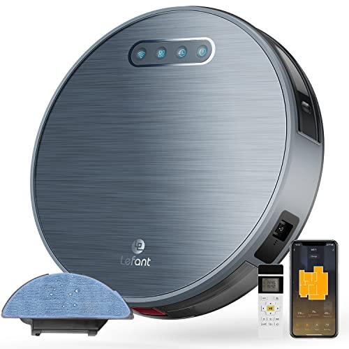 Robot Aspirapolvere 3 ore di autonomia 4500MAH Aspirapolvere robot Wifi con aspirazione 2000 Pa, applicazione domestica Alexa/Google/telecomando ideale per tappeti corti animali Lefant-M571