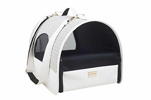 amiplay Hundetragetasche 'Morgan' | Transportbox | Hundebox | Transporthütte | Hundetasche | Hunde-Reisebox , Farbe:Weiß, Größe:L | 45 [x] x 29 [y] x 28 [h] cm