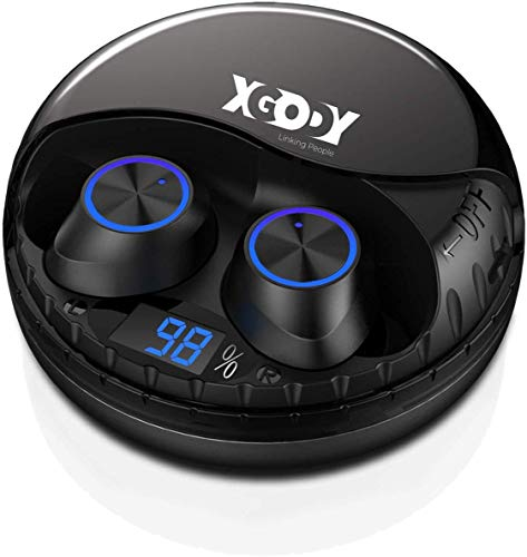Xgody TWS 9S Kopfhörer Kabellos Bluetooth V5.0 Stereo Ohrhörer In-Ear True Wireless Earbuds Sport Headset LED Batterie Anzeige mit Mini Mikrofon und 40H Spielzeit