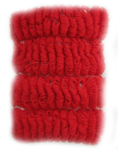 Lot de 4 m de taille élastique côtelé Ponios/chouchous. - Rouge - Taille unique