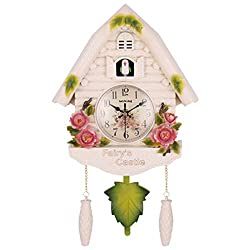 Original Black Forest Cuckoo Clock, Antique Wooden Wall Clock with Quartz Movement and Cuckoo Chime, Mechanical Bird Hand-Made Carved, Bell Swing Alarm Watch Home Art Decor,B
