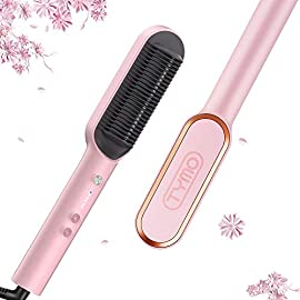 - 41RJa83ZliL - TYMO Ring Pink Hair Straightener Brush – Hair Straightening Iron with Built-in Comb, 20s Fast Heating & 5 Temp Settings & Anti-Scald, Perfect for Professional Salon at Home