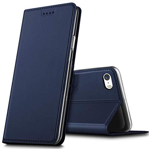 Verco Handyhülle für iPhone SE, Premium Handy Flip Cover für Apple iPhone 5S Hülle [integr. Magnet] Book Hülle PU Leder Tasche, Blau
