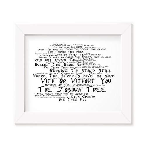 `Noir Paranoiac` Kunstdruck - U2 - The Joshua Tree - Unterzeichnet und Nummerierten Limitierte Auflage Typografie Ungerahmt 25 x 20 cm Wand Kunst Druck Text Lyrisch Plakat - Song Lyrics Art Print Poster