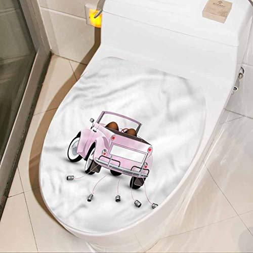 Homesonne - Adhesivo decorativo para asiento de inodoro, diseño de dibujos animados, para coche, para baño, 45 x 21 cm