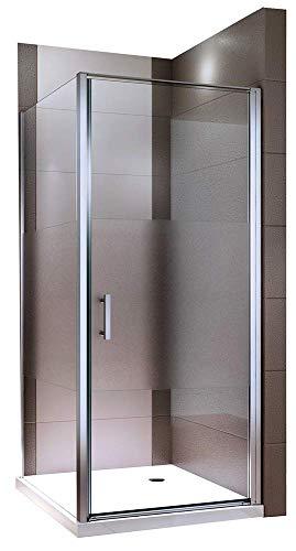Duschkabine 90x90 Pendeltür Eckdusche ESG-Sicherheitsglas Nano Milchglas Streifen Dusche EX416-1