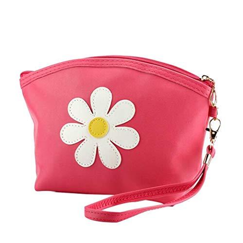 PU bolsa de cosméticos de gran capacidad Maquillaje Bolsa de cosmético de la bolsa de viaje Neceser para la Mujer Rose Red Productos de belleza Útil