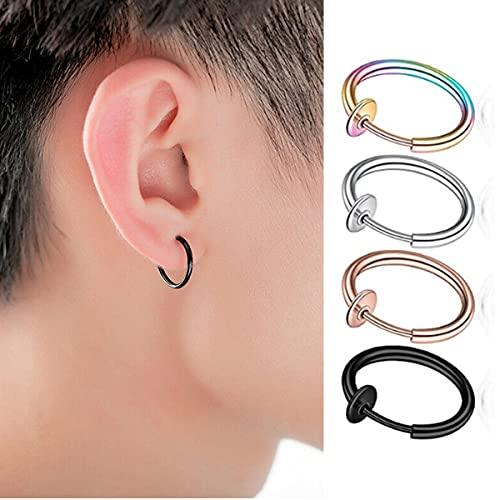 6 Pairs Multisize Fake Nose Ring Spring Hoop, Clip On Earrings Fake Septum Cartilage Earrings Lip Ring Non Piercing Hoop (Silver)