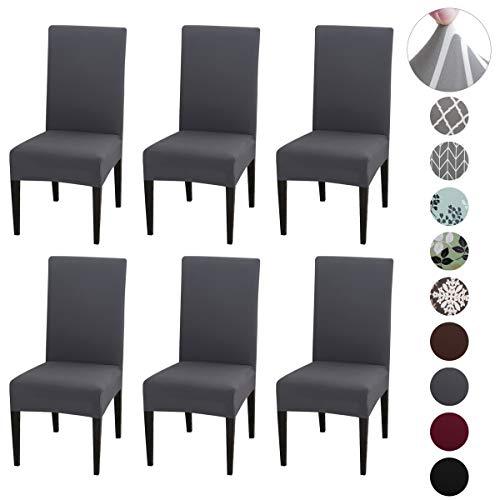 Qimaoo Stuhlhussen 6er Set Stretch Stuhlbezug Weich Stuhlhussen Universal Moderne Beschützer Pflegeleicht und Langlebig - Grau