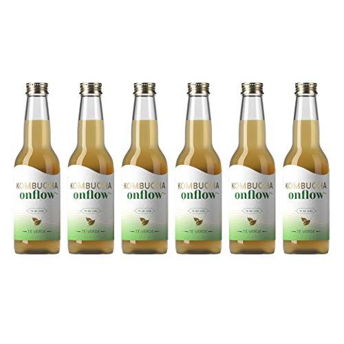 Kombucha OnFlow   6 Flaschen Kombucha  Kombucha Energiegetränk mit natürlichen Probiotika ohne Zuckerzusatz Kombucha Getränk Öko-Scoby fermentiert Kombucha OnFlow 330ml (Grüner Tee)