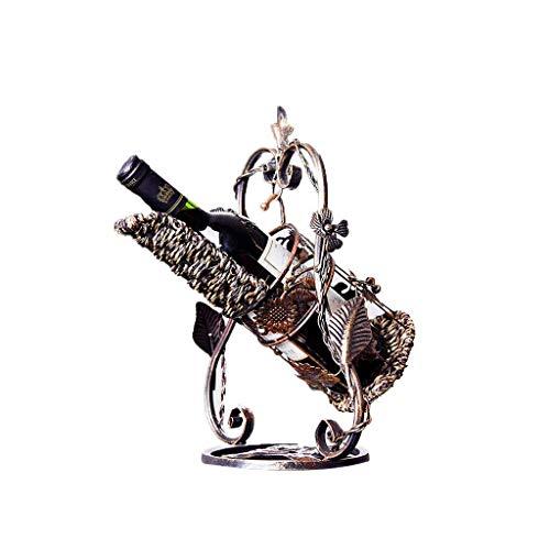 Nuokix Vino Bastidores, Estante del Vino, Estante del Vino Cuna Europea decoración casera Creativa Antiguo se Pone Vino Estante de Hierro Forjado 27 * 21 * 33 Cm