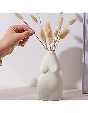 Hey_you Keramisk ansiktskonst vas, snidad kropp dekorativ vas blombehållare för hemmakontor inredning vardagsrum bord, present till bröllop invigningsfest dekoration (vit 02)