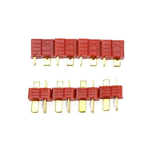Senmubery 10 Pares Enchufe T Antideslizante Conector Macho y Hembra Para Batería Lipo Rc Rojo