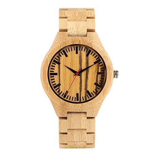 PLUIEX Holzuhr Hellgelbe Streifen Holzuhr Herrenuhren Natural Bamboo Wooden Armreif Herrenuhr Ultraleichte Armbandverschluss-Armbanduhren, nur Uhr