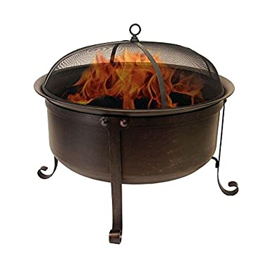 Catalina Creations 34  Round Cauldron Wood Burning Patio Fire Pit - Oil Rubbed Bronze Finish, Mesh Spark Screen, and Accessories