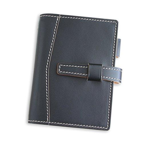 (ブラン・クチュール)BlancCouture システム手帳「ミニ6穴 ポケットサイズ」本革 15mmリング/ 国産フルタンニンドレザー(マットブラック)