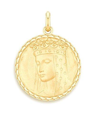 Virgen AUX Etoiles-Medalla religiosa-oro amarillo 9quilates-Diámetro: 17mm-www.diamants-perles.com