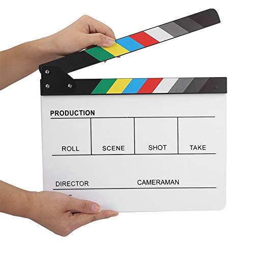 Filmklep, 30x24,8x1,8 cm Regieklep van acryl, Director Film Clapboard gesneden Engels versie, Action-Scene klep met ingebouwde magneetstrips, incl. Wit/Zwart Whiteboard Marker #1