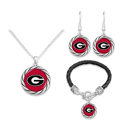 FTH Georgia Bulldogs Twisted Rope Jewelry Combo (Bracelet, Necklace, Dangle Earrings)
