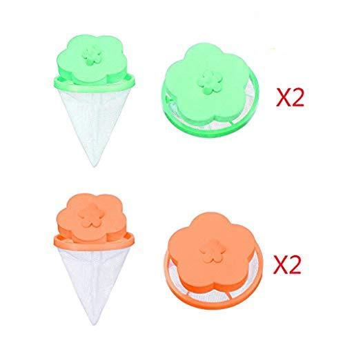 Eternali Waschmaschine Universal Float Filterbeutel Waschkugel Blumenförmiger Waschmaschinen-Haarentferner Blume Pflaume Form 4PC (2 Grün 2 Orange) (Grün orange)