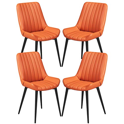 YAWEDA Conjunto de 4 Piezas Sillas encimera Cocina Vendimia sillas salón Ocio habitación Esquina con Las piernas Metal PU Cuero Asiento y respaldos cenar (Color : Orange)