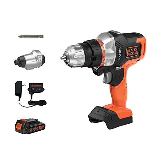 black decker electric drills BLACK+DECKER 20V MAX Matrix Cordless Drill Combo Kit, 2-Tool (BDCDMT120IA)