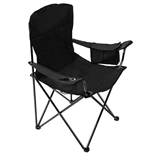 Pacific Pass Full Back Quad Chair for Outdoor and Camping with Cooler and Cup Holder Carry Bag Included Supports 300lbs Middle Black