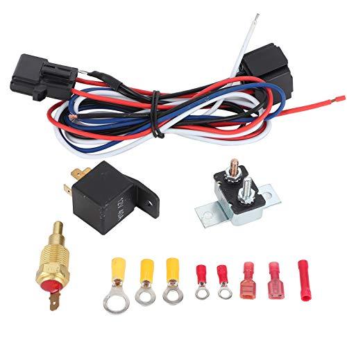 Kit de relé de ventilador de radiador de refrigeración eléctrica con juego de cableado de hardware de instalación de termostato para ventiladores de 7/8 pulgadas, ventiladores de 10/12/14/16 / pulgada