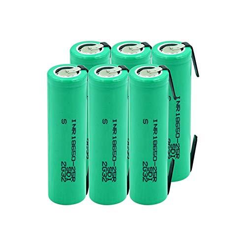 RitzyRose 3,7 V 2500 mAh INR 18650 25R 20 A baterías de iones de litio de alto consumo, baterías recargables con 2 pestañas 6 unidades