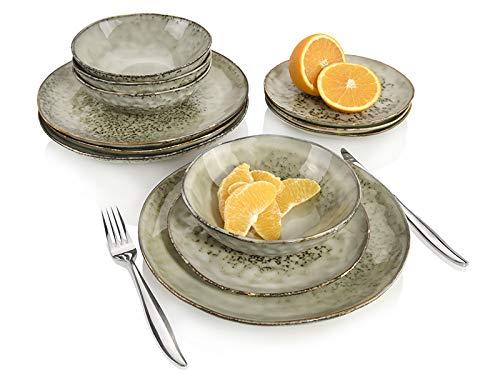 Sänger Dinner Service Pompei aus Porzellan 12 teilig für 4 Personen - Füllmenge der Schalen 700 ml - Tellerset im Vintage-Stil Grau Braun, Geschirrset, Porzellanservice