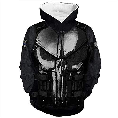 RITIOA Punisher Hoodie 3D Digitaldruck Casual Sweater Cosplay Anime Jacke 3D Print Hoodie Männer Frauen Kordelzug-Punisher-F3-Punisher-F3-XL