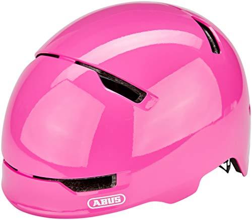 ABUS Scraper 3.0 Kid Kinderhelm - Robuster Fahrradhelm für Kinder - mit Rücklicht für den Stadtverkehr - für Jungs und Mädchen - 81755 - Pink Glänzend, Größe M