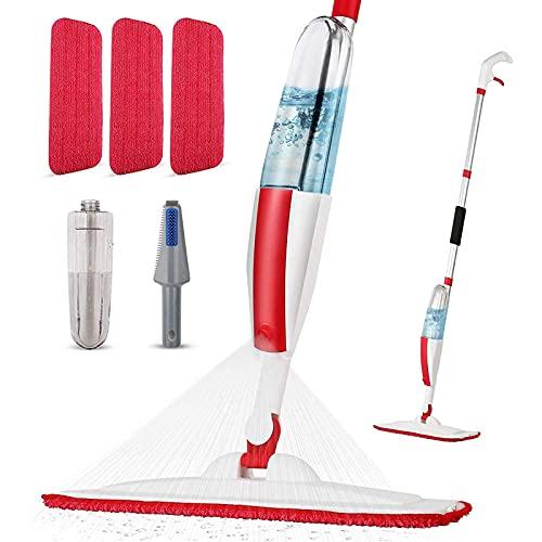 Panda Grip Bodenwischer mit Sprühfunktion,Sprühwischer für Bodenreinigung Schnelle Reinigung Spray Mop Wischmopp mit 400ml Wassertank und 3-Mikrofaserbezug