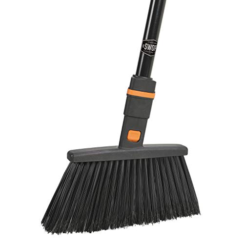 """SWOPT Standard Multi-Surface Angle Broom – 48"""" Steel Handle – Handle Interchangeable with Other SWOPT Products – Great for Indoor and Outdoor Applications –"""