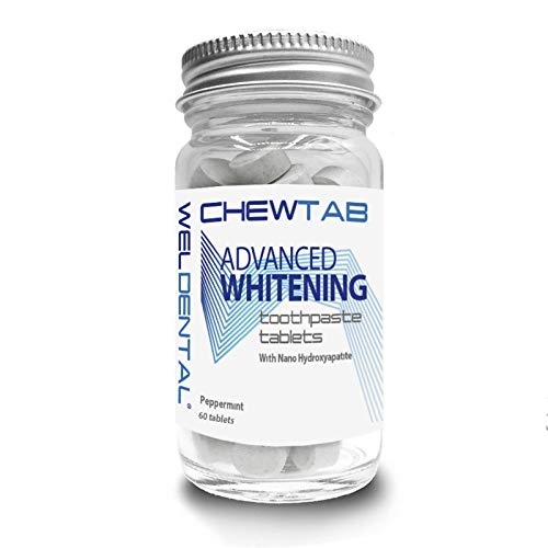 Chewtab Advanced Whitening Toothpaste Tablets with Nano-Hydroxyapatite, Peppermint 60 Count