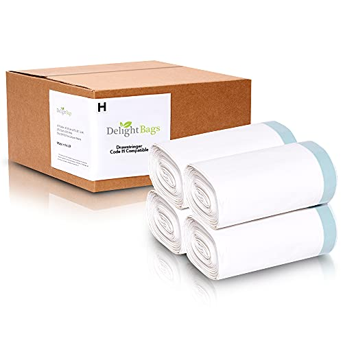 """Compatible with Simple human Code H, 4 refill of 50 (200 Count), Eco-Friendly, White Custom Fit Drawstring Trash Bags, 8-9 Gallon, 30-35 Liter, 18.5"""" x 28"""", 1.2 Mil thick, Delight Bags are made in the USA with 70% CERTIFIED Post Consumer Material"""