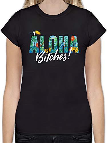 Karneval & Fasching - Aloha Bitches - XXL - Schwarz - L191 - Tailliertes Tshirt für Damen und Frauen T-Shirt
