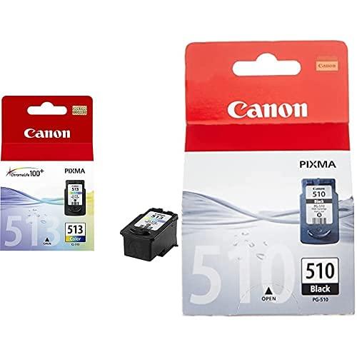 Canon Cl-513 Cartucho De Tinta Original Tricolor para Impresora De Inyeccion De Tinta + Pg-510 Cartucho De Tinta Original Negro para Impresora De Inyeccion De Tinta Pixma