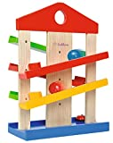 EICHHORN 100002025 Marble Run Game for Kids | Fun Coloured Wooden Toys with 3 Marbles & Fun Bell | for Ages 1+, Multicolour
