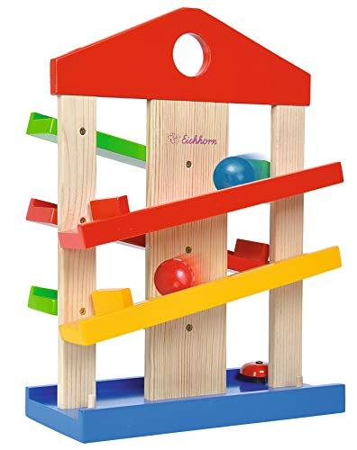 Eichhorn 100002025 Kugelbahn-Haus, 4-teilig, bunte Rollbahn aus Holz mit Glocke und drei Kugeln Lindenholz, Motorikspielzeug für Kinder ab 1 Jahr, Größe: 25 x 34 cm