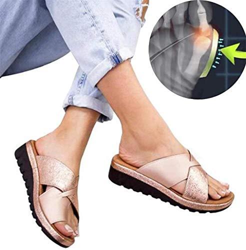 ONEYMM Sandalias ortopédicas para Mujer Plataforma Zapatos de Cuero de PU Zapatillas Corrector de juanete Cómoda Cuña Señoras Casual Sandalias de corrección de Dedo Gordo,Oro,41