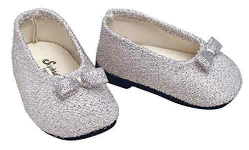 Sophias Doll Clothes for 18 Inch Dolls, Silver Glitter Doll Dress Shoe Accessory fits American Girl Dolls and More! My Dolls Life
