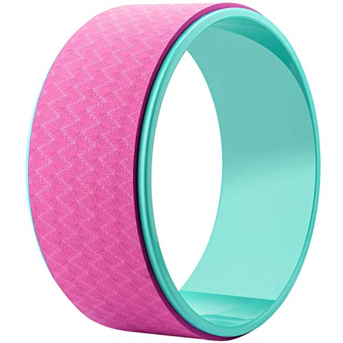 Tormeti Yoga Wheel -Strongest & Most Comfortable Dharma Prop Wheel, Perfect Accessory for Stretching and Improving Backbends, 12 X 5 Inch Basic (Pink & Green)