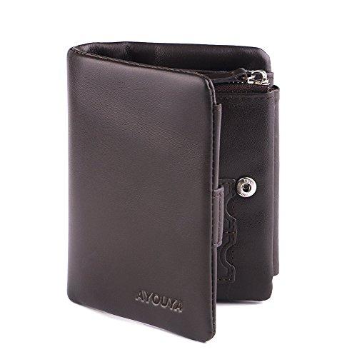 AYOUYA Portafoglio Uomo Pelle Verticale Porta Carte di Credito con due SIM tasche Mini Wallet Porta Monetta in Pelle Morbida di Vitello Marrone