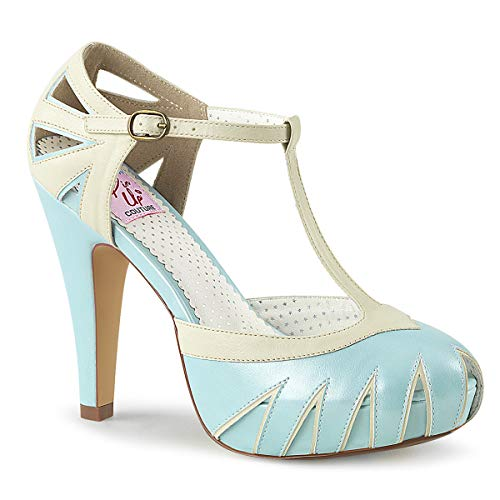 Pin Up Couture BETTIE-25 B. Blue-Cream Faux Leather UK 6 (EU 39)
